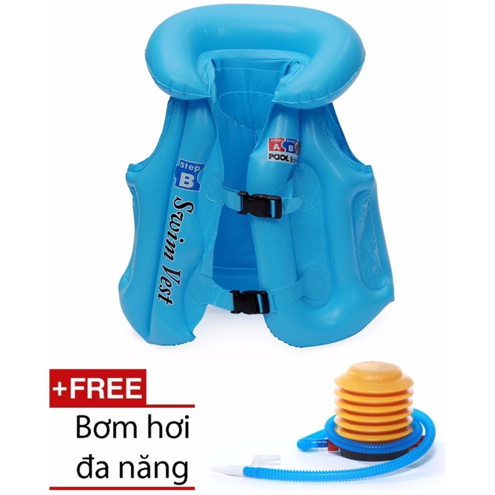 Áo phao tập bơi cho bé (Xanh dương) + 1 Bơm hơi cỡ lớn GSHN674