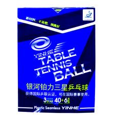 Banh bóng bàn YINHE 40+ hộp 6 trái (Plastic – Ba sao trắng)