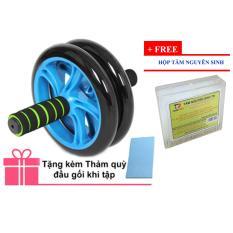 Bánh xe lăn tập cơ bụng AB Wheel + Thảm quỳ đầu gối khi tập + tặng kèm hộp tăm nguyên sinh (Xanh lá thẫm)