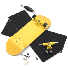Basic Complete Wooden Fingerboard Finger Scooter with Bearing Grit Box Foam Tape Yellow – intl
