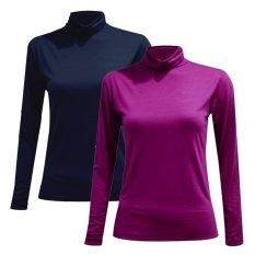 Bộ 2 áo giữ nhiệt cổ lọ dài tay ( tím than, hồng sen)