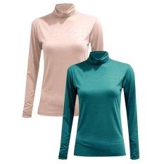 Bộ 2 áo giữ nhiệt cổ lọ tay dài ( da; xanh lý)