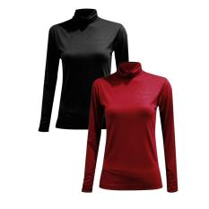 Bộ 2 áo giữ nhiệt cổ lọ, tay dài (đen+đô)