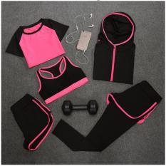 Nơi Bán Bộ 5 món quần áo tập Gym – Yoga nữ – hồng phối đen  Giá Chỉ 453.606đ