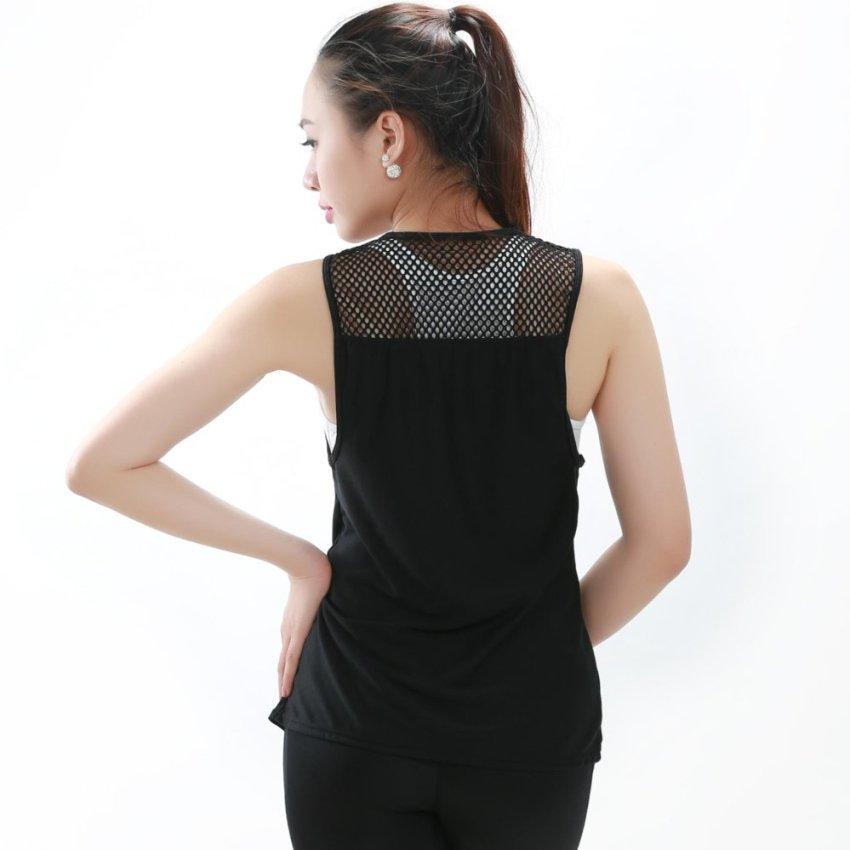 Bộ áo bra+áo nách rộng pha lưới tập luyện cao cấp Shakano