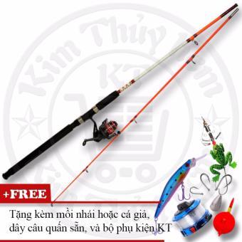 Bộ cần câu cá 2 khúc ruột đặc 2m1 (*Kim Thủy) KT A2-Orange + Tặng mồi giả