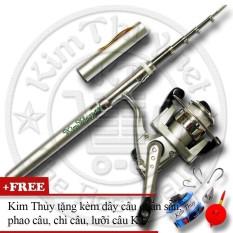 Bộ cần câu bút du lịch KT Mini M1 Silver 100cm (*Kim Thủy) + Kèm Máy câu đứng + Dây câu, Phao câu, Chì câu, Lưỡi câu (Miễn phí vận chuyển)