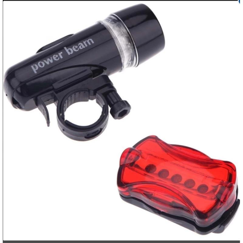 Nơi bán Bộ đèn pin gắn xe đạp và đèn chiếu hậu 5 LED WJ-101 (Đen đỏ)