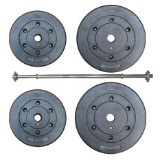 Bộ đòn tạ dài 1m2 và 30kg tạ miếng nhựa đen ( 2 miếng 10Kg, 2 miếng 5kg)