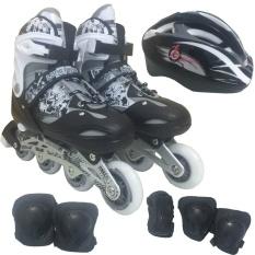 Bộ Giày Patin PTB PT01 + Găng Tay + Mũ Bảo Hiểm Size L (Đen).