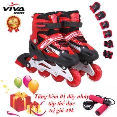 Bộ Giày Trượt Patin Cao Cấp Gắn Đinh Phát Sáng Bánh (SIZE M) + Đồ Bảo Hộ - VIVA SPORT (TẶNG KÈM 1 DÂY NHẢY)