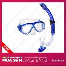 Bộ kính lặn Ống thở, mắt KÍNH CƯỜNG LỰC, ống thở ngăn nước cao cấp + Quà Tặng 3M POPO Collection