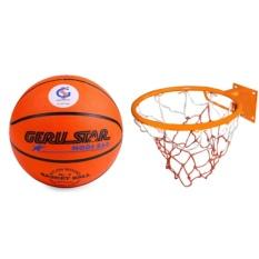 Bộ sản phẩm quả bóng rổ + Vành rổ sport 40cm