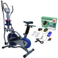 Bộ Xe đạp tập Obitrac Elite 2085 (Xám) + Máy massage xung điện 8 miếng dán