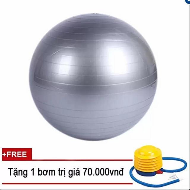 Bóng tập Yoga+ Kèm bộ dụng cụ bơm hơi TPS Trơn 65CM (Màu Ghi)