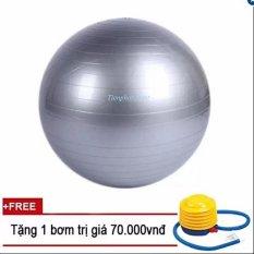 Bóng tập Yoga+ Kèm bộ dụng cụ bơm hơi TPS Trơn 75CM (Màu Ghi)