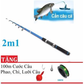 Cần Máy Câu Cá 2m1 + Tặng 100m cước, phao, chì , lưỡi câu