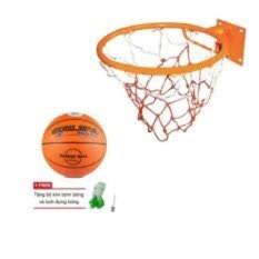 combo vành bóng rổ 40cm+quả bỏng rổ size 6 kèm lưới và kim bơm