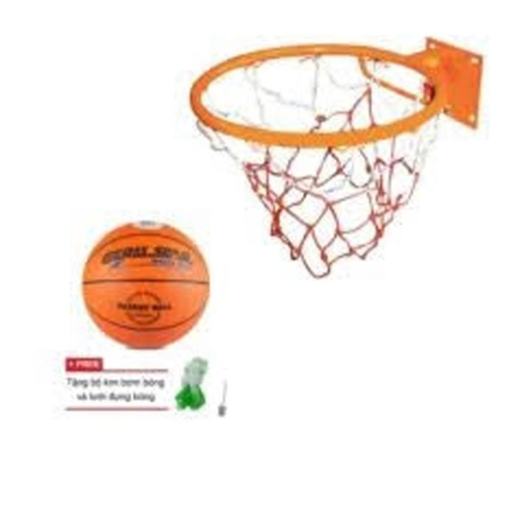 combo vành bóng rổ size 6+quả bỏng rổ size 6 kèm lưới và kim bơm