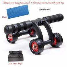 Con lăn tập cơ bụng 4 bánh xe(Tặng thảm+ 01 Tấm chặn)Tienphatsmart(Hà Nội)