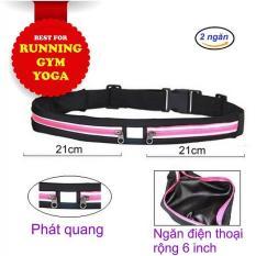 Túi đựng điện thoại đeo bụng Yoga, chạy bộ 2 NGĂN, PHẢN QUANG ban đêm, chống thấm nước, thoát mồ hôi, siêu nhẹ – POPO Sports