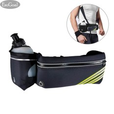 EsoGoal Running Belt with Water Bottle Waterproof Waist Pack for Men and Women Universal Size to Hold Cell Phone, Wallet, and Keys