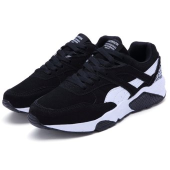 Fashion Casual Men Lace Up Running Sneakers Shoes (BLACK) - intl - 4