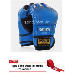 Găng tay đấm bao cát / MMA Wolon (xanh)+ tặng băng quấn tay