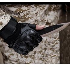 Găng tay nam hở ngón kiểu lính phối da cao cấp (ĐEN, M)