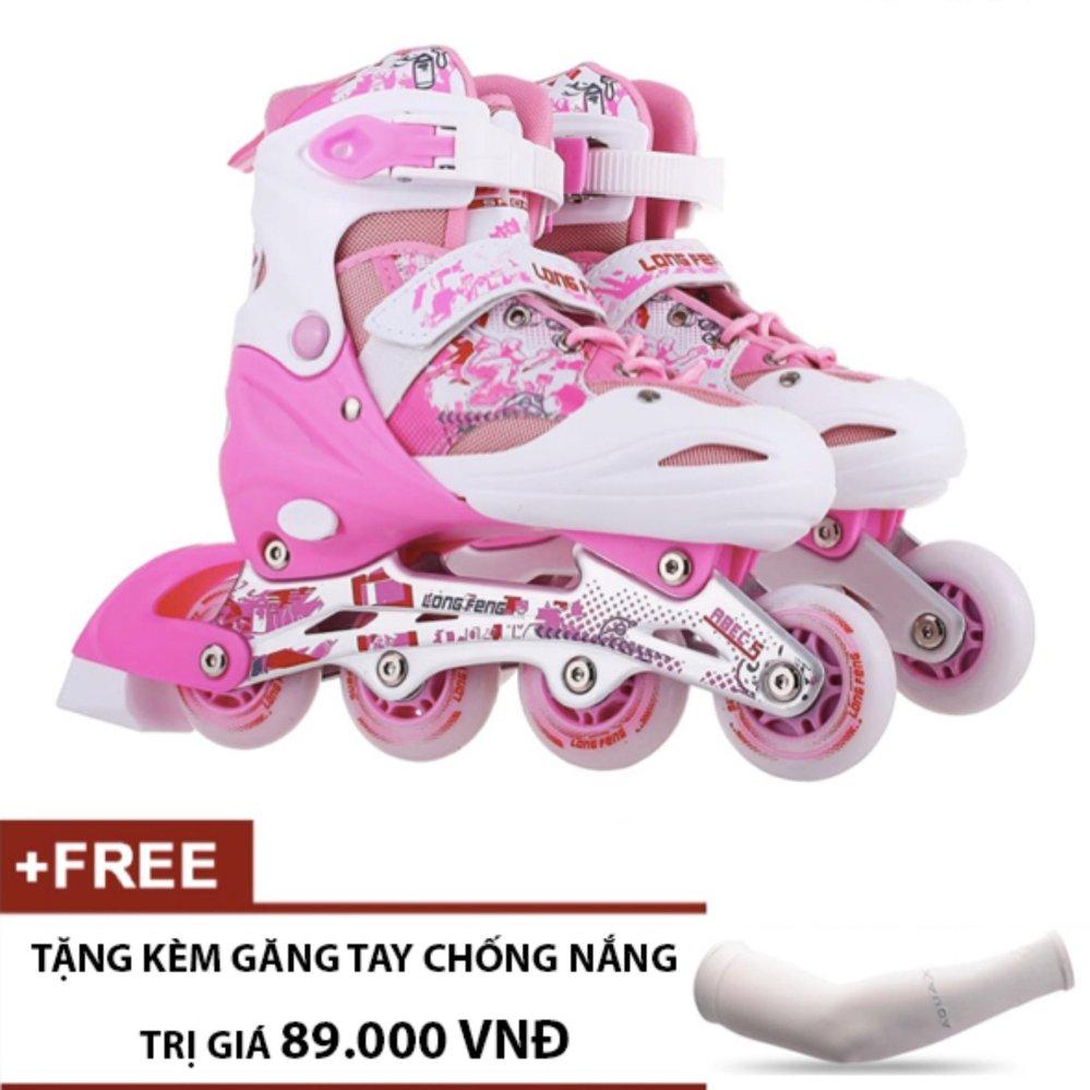 Giày Trượt Patin Trẻ Em Long Feng 906 (Hồng Trắng) - Tặng kèm găng tay chống nắng