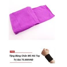 Khăn trải thảm tập yoga silicon cao cấp(tím) + Tặng băng thấm mồ hôi tay