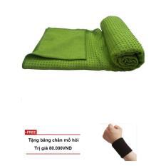 Khăn trải thảm tập yoga silicon cao cấp(xanh lá) + Tặng băng thấm mồ hôi tay