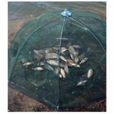 Lưới bát quái đánh bắt cá tự bung 8 cửa  loại 1 (xanh)