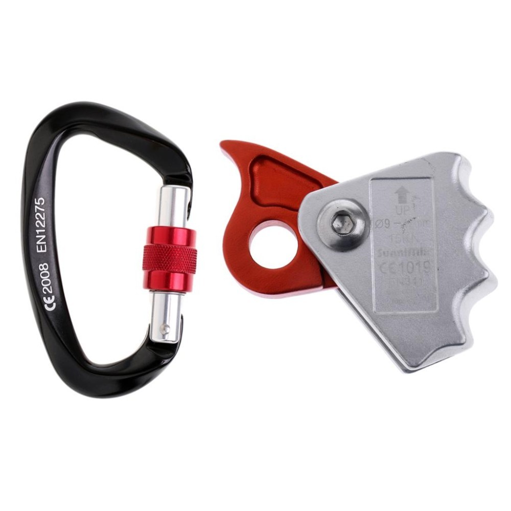 MagiDeal Safety Outdoor Rock Climbing Tree Arborist Caving Rescue 15KN Rope Grab Protecta with 25KN Screwgate Locking Carabiner - intl