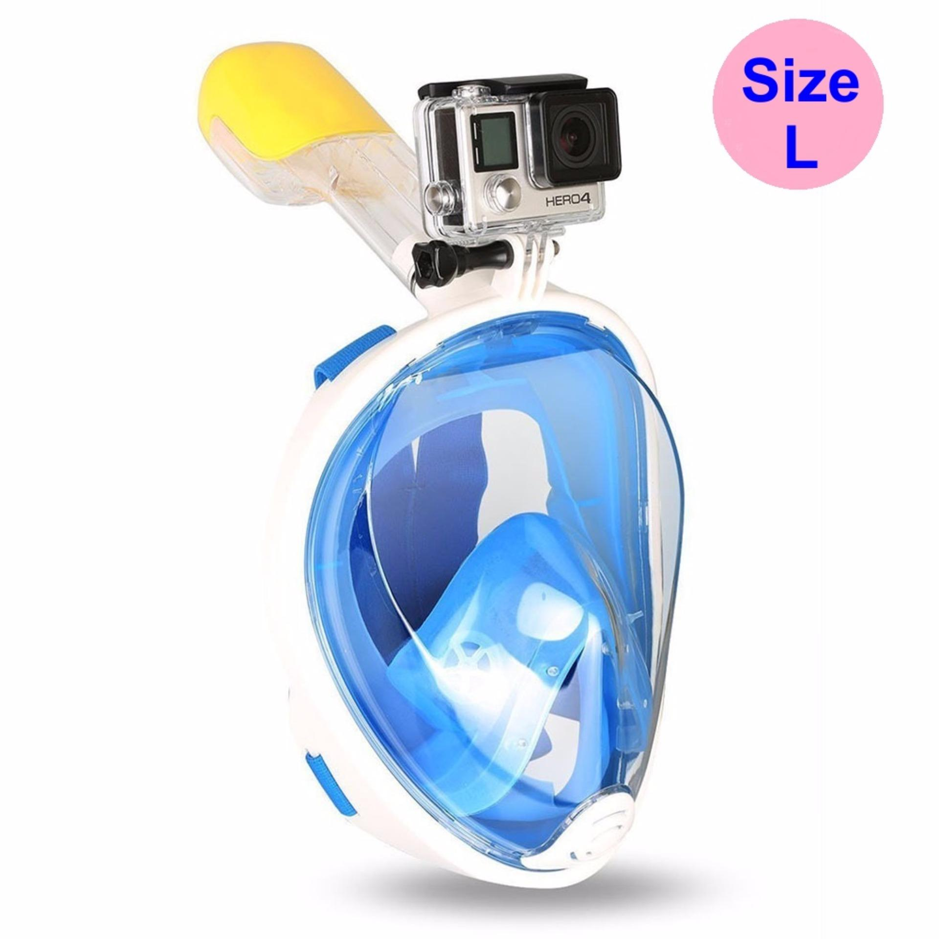 Mặt nạ lặn Full Face Size L gắn được GOPRO, SJCAM tầm nhìn 180 độ, Ống thở gắn liền ngăn nước – POPO Sports