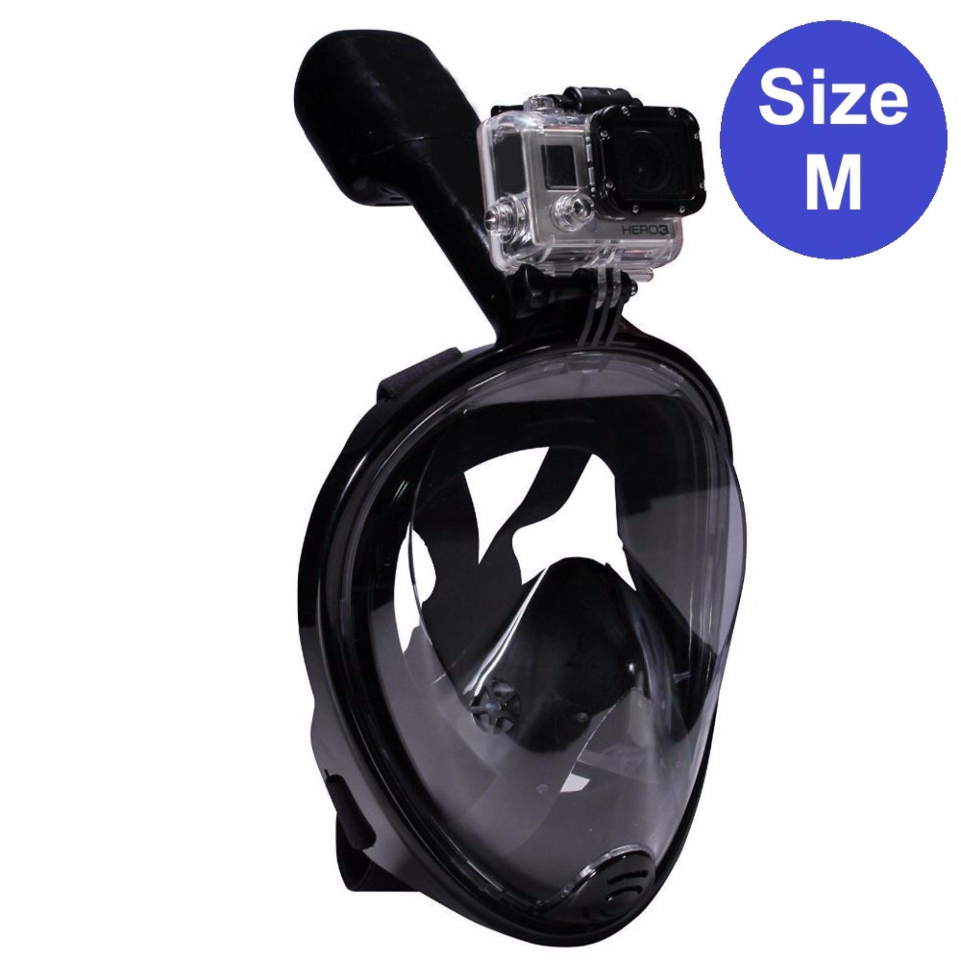 Mặt nạ lặn Full Face – Size M – gắn được GOPRO, SJCAM tầm nhìn 180 độ, Ống thở gắn liền ngăn nước – POPO Sports