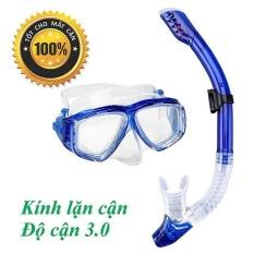 Mặt nạ lặn cận gồm ống thở, độ cận 3.0 độ, kính lặn cận mắt kính cường lực, ống thở ngăn nước POPO Collection