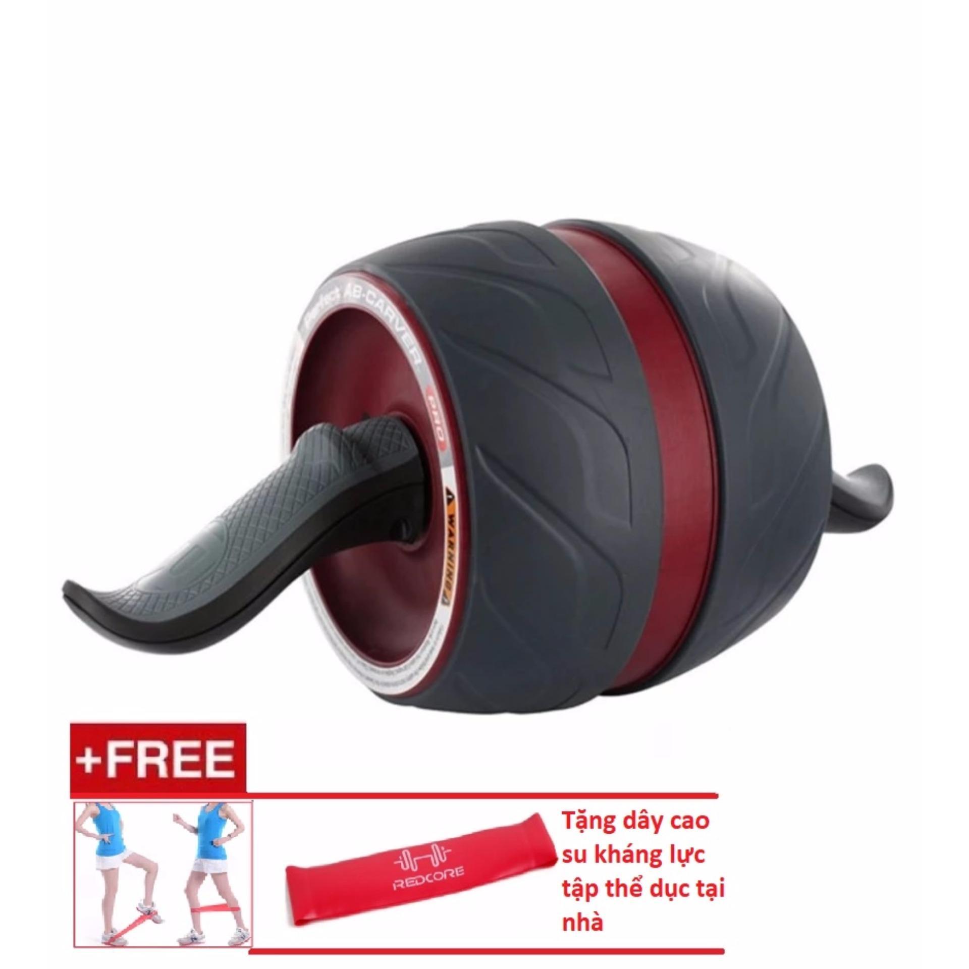 Máy tập cơ bụng đa năng AB Carver Pro (Đen phối Đỏ) + Tặng dây kháng lực tập thẻ dục tại nhà