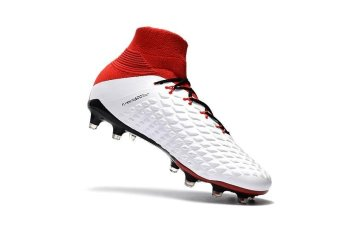Mens Football Boots Women High Top Soccer Sneakers Bean threegenerations of 3D weaving high to help FG football shoes HypervenomPhantom III FG White Red - intl