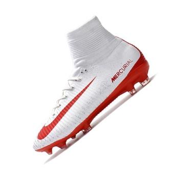 Mens Football Boots Women High Top Soccer Sneakers MercurialSuperfly V FG White red - intl