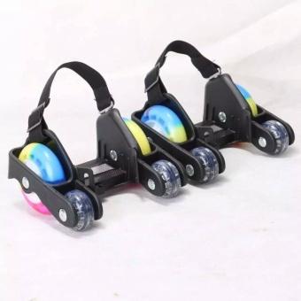 Newly Colorful PU 4 Wheel Flashing Roller Skates(Orange) - intl