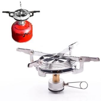 Outdoor camping big fire plate zipper waist gas stove silver - intl