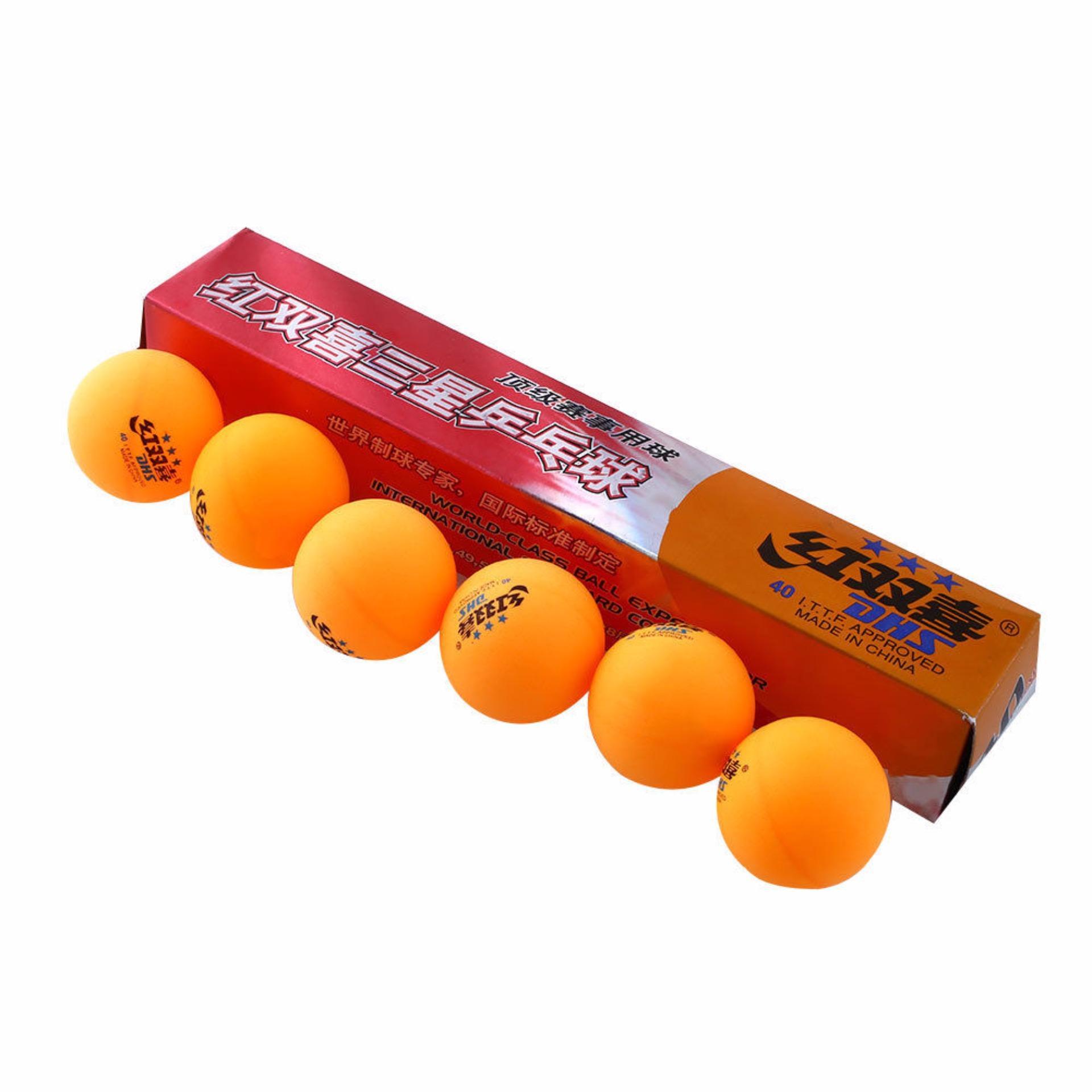 Quả bóng bàn DHS, Hộp dài 6 quả; 3 sao 40 VÀNG; chất liệu cao cấp