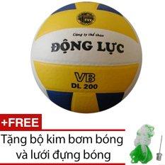 Quả bóng chuyền Động Lực 3 màu DL200 + Tặng bộ kim bơm bóng và lưới đựng bóng