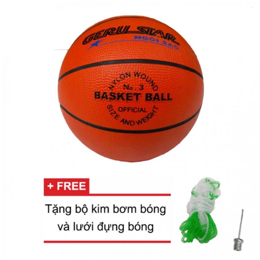 Quả bóng rổ cao su Gerustar số 3 (Cam) và Tặng kim bơm bóng và lưới đựng bóng