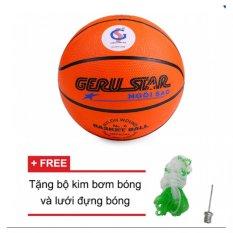 Quả bóng rổ gerustar số 6 (Cam) và Tặng kim bơm bóng và lưới đựng bóng