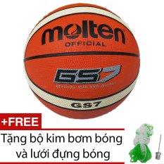 Quả bóng rổ Molten GS7 cao su 2 màu + Tặng bộ kim bơm bóng và lưới đựng bóng