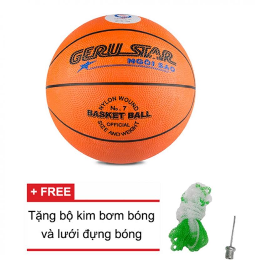 Bảng Giá Quả bóng rổ số 7 Gerustar (Cam) và Tặng kim bơm bóng và lưới đựng bóng