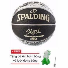 Quả bóng rổ Spalding NBA Sketch Outdoor size7 + Tặng bộ kim bơm bóng và lưới đựng bóng