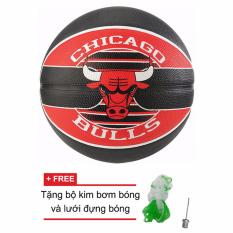 Quả bóng rổ Spalding NBA Team Chicago Bulls Outdoor size7 + Tặng bộ kim bơm bóng và lưới đựng bóng